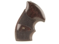 Smith &amp; Wesson Factory Grips with Finger Grooves S&amp;W N-Frame Round Butt Checkered Rosewood