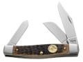 Case 7147 Ducks Unlimited Large Stockman Folding Pocket Knife 3-Blade Stainless Steel Blades Genuine Bone Handle Brown