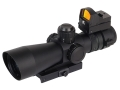 NcStar Mark 3 Compact Tactical Rifle Scope 3-9x 42mm Red or Green Illuminated Mil-Dot Reticle Matte with Tactical Micro Red Dot Sight and Integral Quick Release Weaver-Style Base