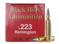 Product detail of Black Hills Ammunition 223 Remington 52 Grain Match Hollow Point Moly Box of 50