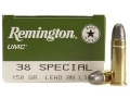 Remington UMC Ammunition 38 Special 158 Grain Lead Round Nose Box of 50