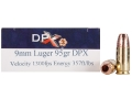 Cor-Bon DPX Ammunition 9mm Luger 95 Grain Barnes XPB Hollow Point Lead-Free Box of 20
