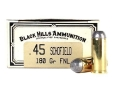 Black Hills Cowboy Action Ammunition 45 S&amp;W Schofield 180 Grain Lead Flat Point Box of 50