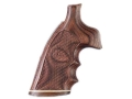 Hogue Fancy Hardwood Grips with Accent Stripe, Finger Grooves and Contrasting Butt Cap S&W N-Frame Round Butt Checkered