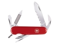 Wenger Swiss Army Serrated Highlander Folding Knife 11 Function Swiss Surgical Steel Blades Polymer Scales Red