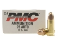 PMC Bronze Ammunition 25 ACP 50 Grain Full Metal Jacket Box of 50