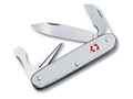 Victorinox Swiss Army Electrician Folding Pocket Knife 7 Function Stainless Steel Blade Ribbed Alox Aluminum Handle Silver