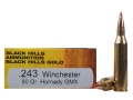 Product detail of Black Hills Gold Ammunition 243 Winchester 80 Grain Hornady GMX Lead-Free Box of 20