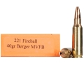 HSM Varmint Gold Ammunition 221 Remington Fireball 40 Grain Berger Varmint Hollow Point Flat Base Box of 20