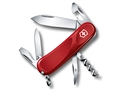Victorinox Swiss Army Evolution 10 Folding Pocket Knife 10 Function Stainless Steel Blade Plastic Handle Red
