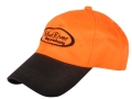 Mud River Logo Cap Waxed Canvas Blaze Orange and Brown