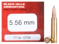 Black Hills Ammunition 5.56x45mm NATO 77 Grain Sierra MatchKing Hollow Point Box of 50