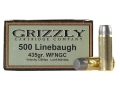 Grizzly Ammunition 500 Linebaugh 435 Grain Cast Performance Lead Wide Flat Nose Gas Check (1250 fps) Box of 20
