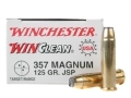 Winchester USA WinClean Ammunition 357 Magnum 125 Grain Jacketed Flat Nose Case of 500 (10 Boxes of 50)