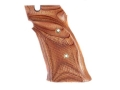 Hogue Fancy Hardwood Grips S&amp;W 41 with Left Hand Thumb Rest Checkered Rosewood Laminate