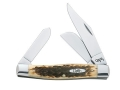 Case Large Stockman Folding Pocket Knife 3-Blade Chrome Vanadium Steel Blade Bone Handle Amber