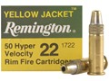 Remington Yellow Jacket Ammunition 22 Long Rifle 33 Grain Plated Truncated Cone Hollow Point Box of 500 (10 Boxes of 50)
