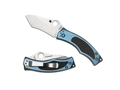 "Spyderco Vrango Folding Pocket Knife 2.38"" Tanto Point CPM S30V Steel Blade Titanium Handle Black and Blue"