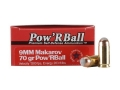 Product detail of Glaser Pow'RBall Ammunition 9x18mm (9mm Makarov) 70 Grain Box of 20