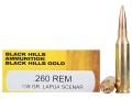 Product detail of Black Hills Gold Ammunition 260 Remington 139 Grain Lapua Scenar Hollow Point Box of 20
