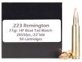 Doubletap Ammunition 223 Remington 77 Grain Nosler Custom Competition Hollow Point Boat Tail Box of 50