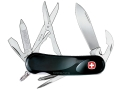 Wenger Swiss Army Evolution 16 Folding Knife 14 Function Swiss Surgical Steel Blades Polymer Scales Black