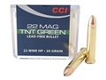 CCI Maxi-Mag Ammunition 22 Winchester Magnum Rimfire (WMR) 30 Grain Speer TNT Green Hollow Point Lead-Free Box of 50