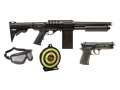 Crosman Tactical Recon Airsoft Shotgun and Pistol Kit Spring Powered Polymer Stock Black and Tan