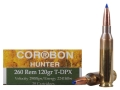 Cor-Bon DPX Hunter Ammunition 260 Remington 120 Grain Barnes Tipped Triple-Shock X Bullet Lead-Free Box of 20
