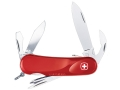 Wenger Swiss Army Evolution Lock S 111 Folding Knife 12 Function Swiss Surgical Steel Blades Polymer Scales Red