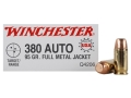 Winchester USA Ammunition 380 ACP 95 Grain Full Metal Jacket Box of 50