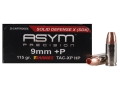 ASYM Precision Solid Defense X Ammunition 9mm Luger +P 115 Grain Barnes TAC-XP Hollow Point Box of 20