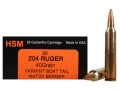 HSM Varmint Gold Ammunition 204 Ruger 40 Grain Berger Varmint Hollow Point Flat Base Box of 20