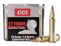 CCI GamePoint Ammunition 17 Hornady Magnum Rimfire (HMR) 20 Grain Jacketed Spire Point Box of 50
