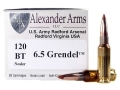 Product detail of Alexander Arms Ammunition 6.5 Grendel 120 Grain Nosler Ballistic Tip Box of 20
