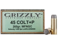 Grizzly Ammunition 45 Colt (Long Colt) +P 265 Grain Cast Performance Lead Wide Flat Nose Gas Check (1400 fps) Box of 20
