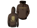 Hard Core Men's Distressed Logo Hooded Sweatshirt Synthetic Blend Dark Chocolate