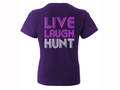 Hard Core Women's Live. Laugh. HUNT. T-Shirt Short Sleeve Cotton Purple