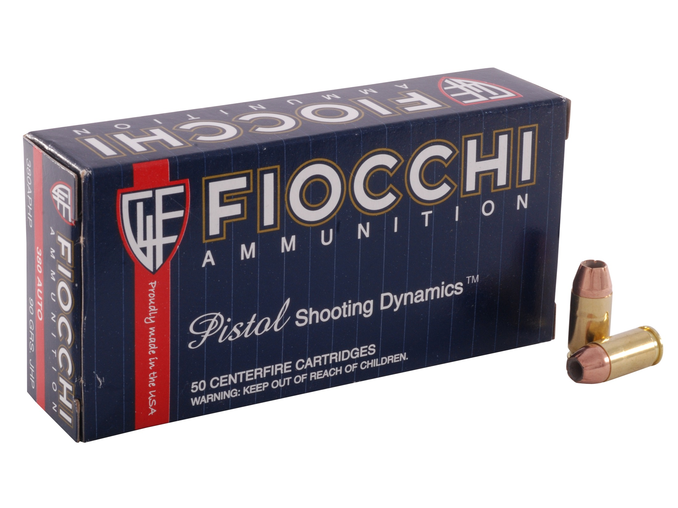 Fiocchi Shooting Dynamics 380 ACP 90 Grain Jacketed Hollow Point Ammunition, 50 Per Box