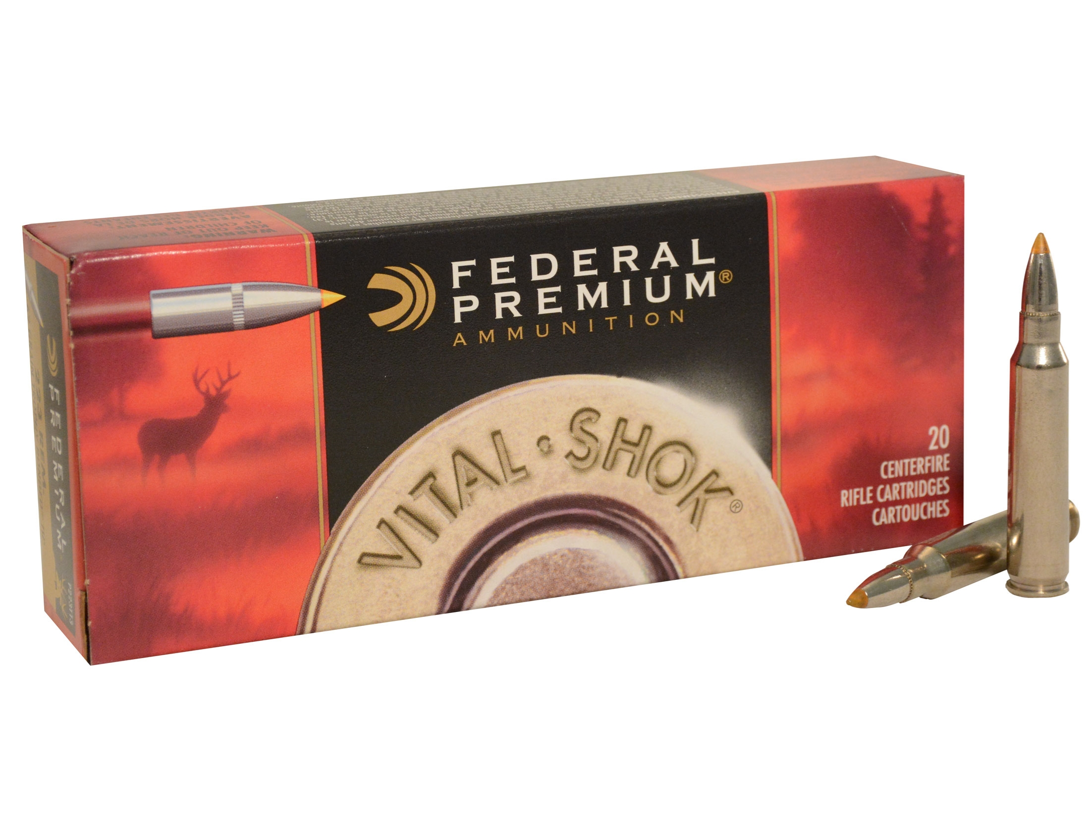 Federal Premium Vital-Shok 223 Remington 62 Grain Trophy Bonded Tip Ammunition, 20 Rounds Per Box