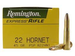 Remington Express Ammunition 22 Hornet 45 Grain Pointed Soft Point Box of 50