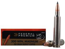 Federal Premium Vital-Shok Ammunition 300 Winchester Magnum 180 Grain Trophy Copper Tipped Boat Tail Lead-Free Box of 20