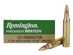 Remington Premier Match Ammunition 223 Remington 77 Grain Sierra MatchKing Hollow Point Box of 20