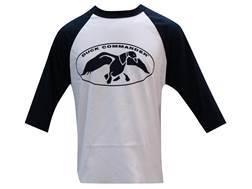 Duck Commander Men's Logo T-Shirt 3/4 Sleeve Cotton Navy and White Medium