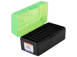 MTM Flip-Top Ammo Box 22-250 Remington, 250 Savage, 35 Remington 50-Round Plastic Clear Green and Black