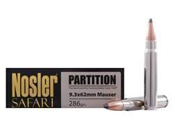 Nosler Safari Ammunition 9.3x62mm Mauser 286 Grain Partition Box of 20