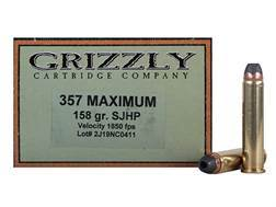 Grizzly Ammunition 357 Maximum 158 Grain Jacketed Hollow Point Box of 20