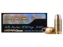 HPR HyperClean Ammunition 45 ACP 230 Grain Hornady XTP Jacketed Hollow Point Box of 50