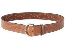 "Bianchi B9 Fancy Stitched Belt 1-3/4"" Brass Buckle Suede Lined Leather Tan 42"""