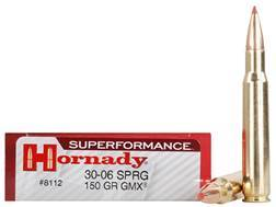 Hornady SUPERFORMANCE GMX Ammunition 30-06 Springfield 150 Grain Gilding Metal Expanding Boat Tail Lead-Free Box of 20